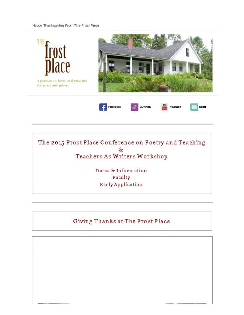 The Frost Place Newsletter Conference on Poetry and Teaching