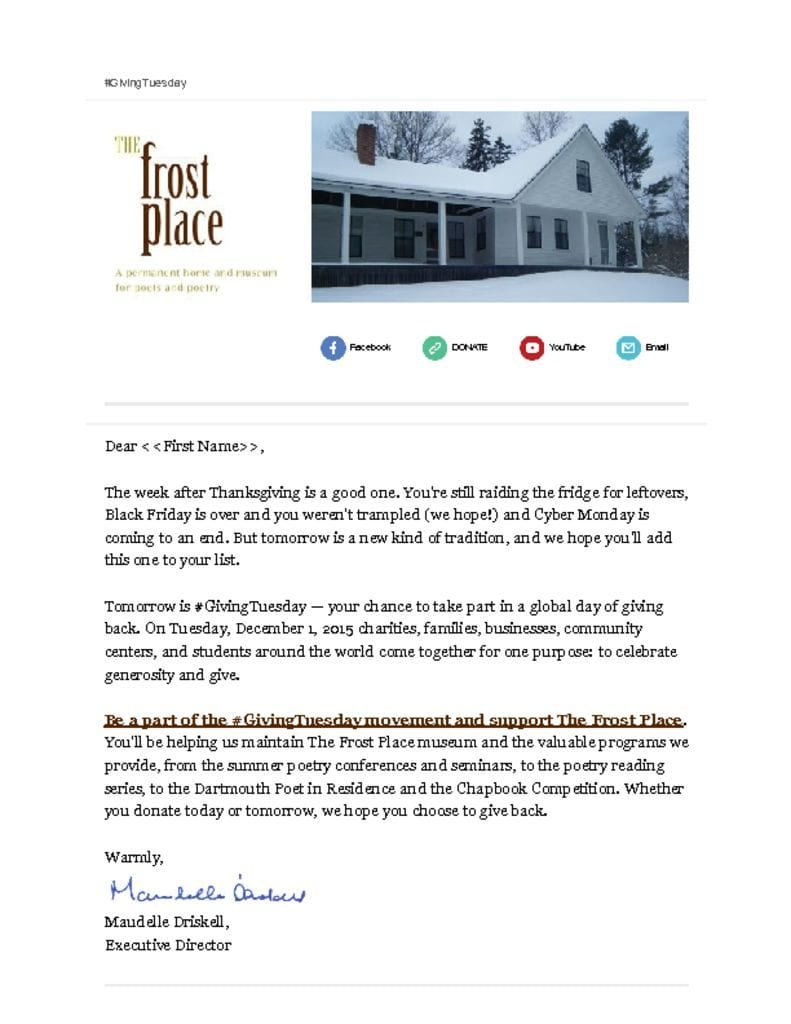 The Frost Place Newsletter Giving Tuesday 2015