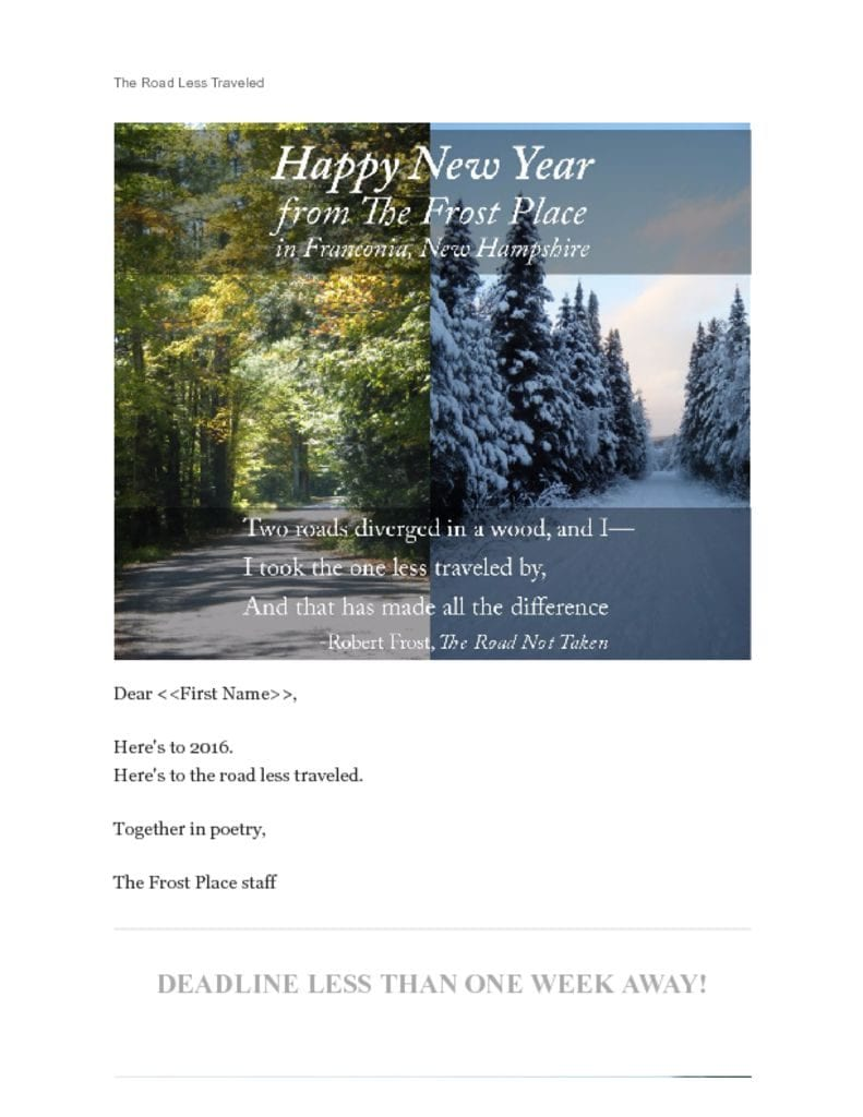The Frost Place Newsletter Happy New Year