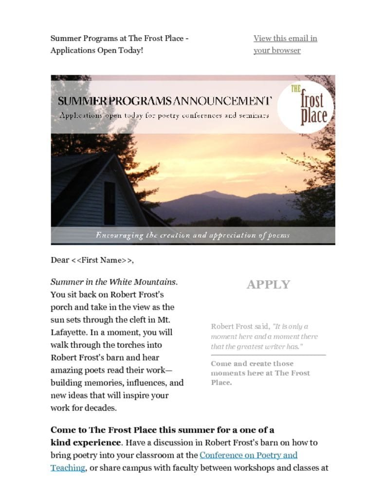 The Frost Place Newsletter Summer Programs Announcement