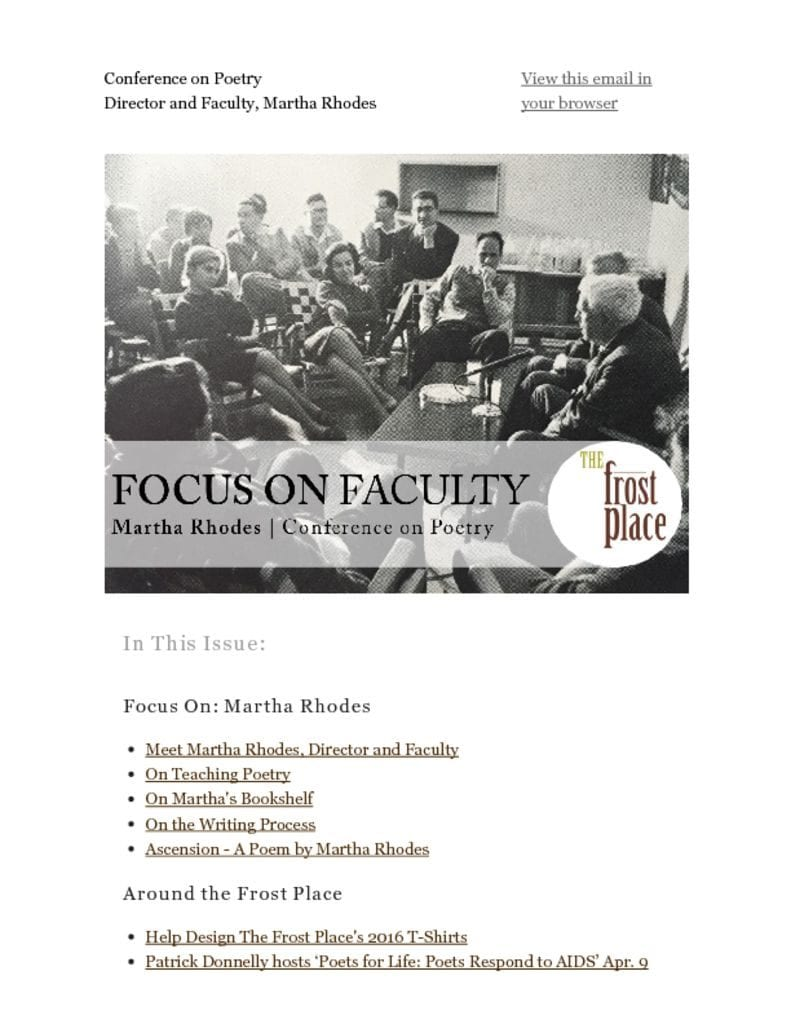 The Frost Place Newsletter Martha Rhodes