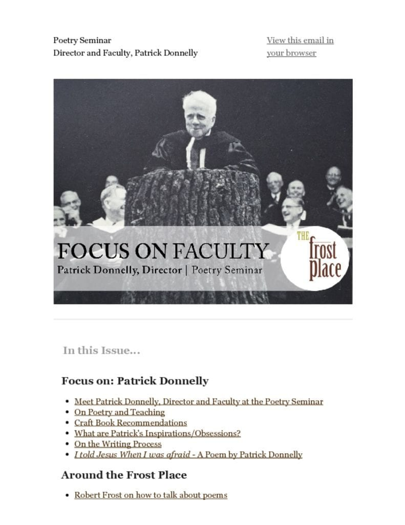 The Frost Place Newsletter Patrick Donnelly